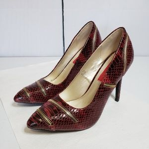 C Label Red Faux Snakeskin Zip Accent Stilettos